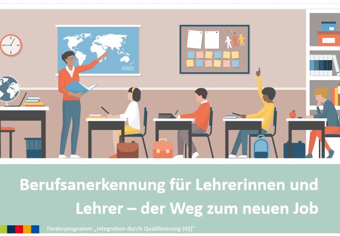 """Das Cover der Broschüre """"Berufsanerkennung für Lehrerinnen und Lehrer - der Weg zum neuen Job"""" zeit einen Klassenraum mit vier Schüler:innen und einer Lehrkraft."""