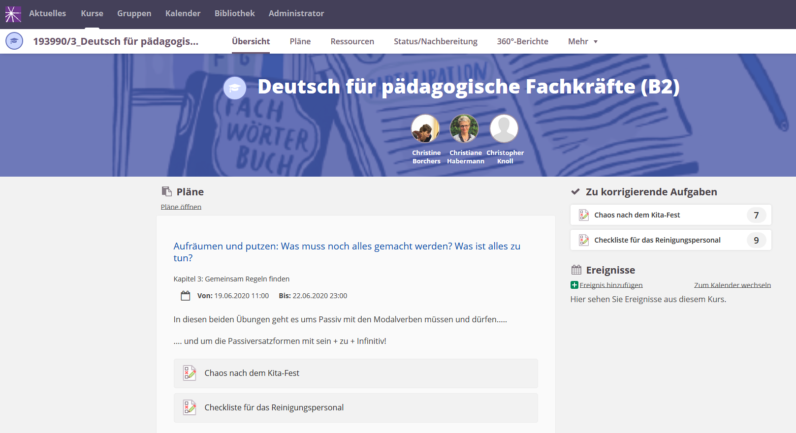 "Screenshot der Lernplattform ""Itslearning"""