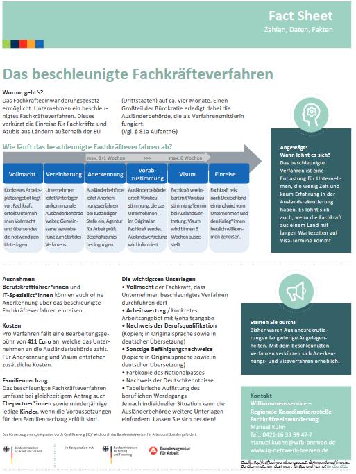 Factsheet zum beschleunigten Fachkräfteverfahrendes IQ Netzwerk Bremen