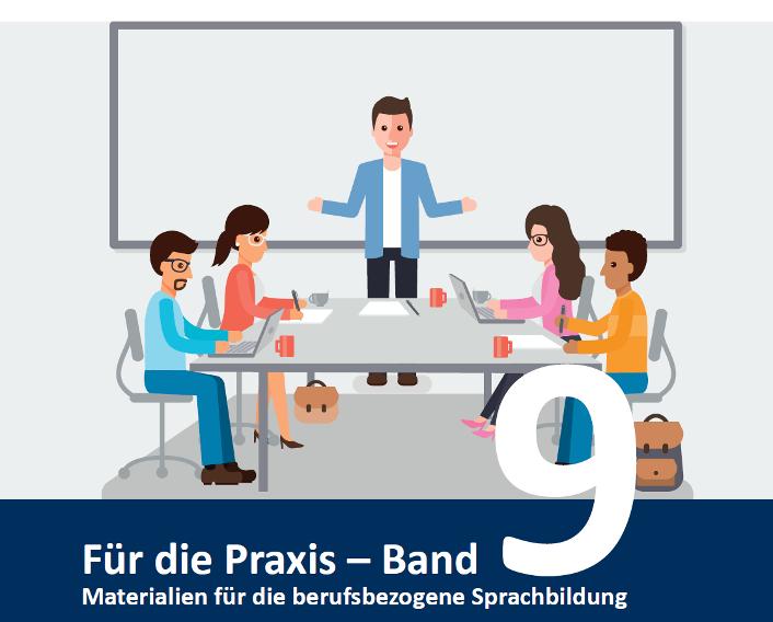 """Cover der Broschüre """"Szenarien ermöglichen"""" aus der Reihe """"Für die Praxis - Materialien für den berufsbezogenen Deutschunterricht."""