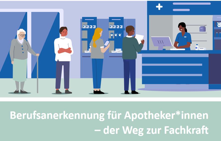 """Cover der Broschüre """"Anerkennung für Apotherker:innen - der Weg zuf Fachkraft"""""""