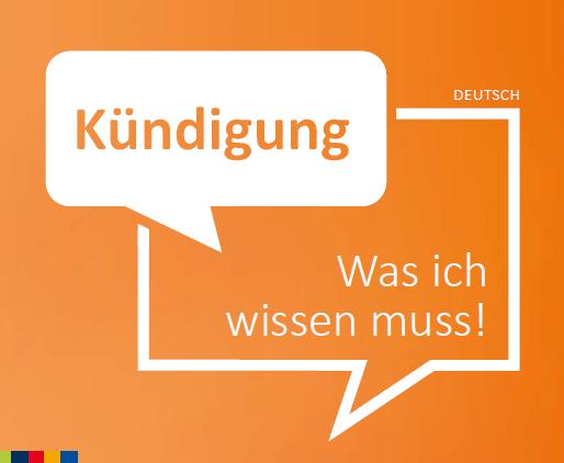 """Titelblatt der Infobroschüre: """"Kündigung. Wass ich wissen muss!"""" der Beratungsstelle """"Faire Integration"""""""