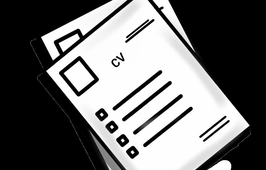 Zwei Blattpapier liegen übereinander. Auf dem oberen Blatt kann man CV lesen. Es handelt sich um die graphische Darstellung eines Lebenslaufs.